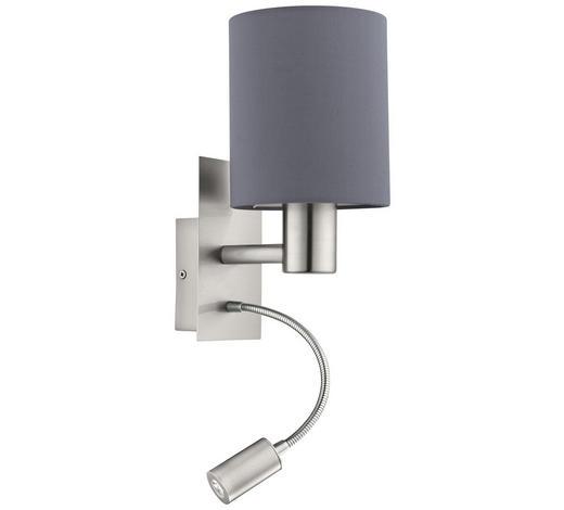LED-WANDLEUCHTE - Grau/Nickelfarben, Design, Textil/Metall (15/19,5/38cm)