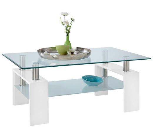 KONFERENČNÍ STOLEK, kov, sklo, kompozitní dřevo, bílá - bílá, Design, kov/kompozitní dřevo (100/60/45cm) - Carryhome
