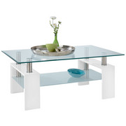 SOFFBORD - vit, Design, metall/glas (60/45/100cm) - LOW PRICE