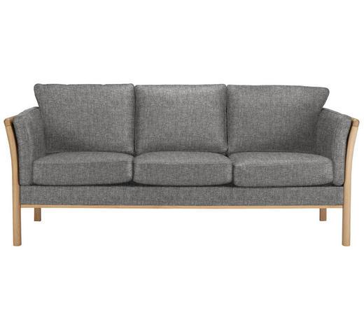 DREISITZER-SOFA in Holz, Textil Grau, Eichefarben - Eichefarben/Grau, Design, Holz/Textil (197/80/82cm)