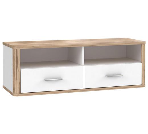 TV DÍL, bílá, barvy dubu - bílá/barvy dubu, Konvenční, kov/kompozitní dřevo (120,2/41,5/41,3cm) - Xora