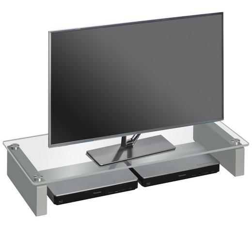TV-AUFSATZ in Klar, Platinfarben - Platinfarben/Klar, KONVENTIONELL, Glas/Holzwerkstoff (82/12,2/35cm)