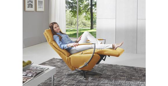 RELAXSESSEL in Leder Gelb  - Chromfarben/Gelb, Design, Leder/Metall (64/112/80cm) - Cantus