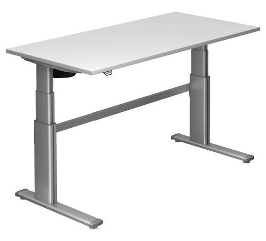 SCHREIBTISCH - Silberfarben/Weiß, Design, Holzwerkstoff/Metall (160/66-130/80cm)