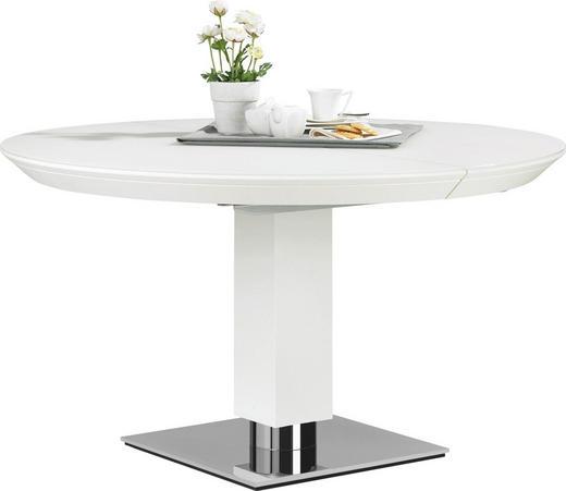 ESSTISCH in Holz, Metall, Glas  135/74 cm - Weiß, Design, Glas/Holz (135/74cm) - Bacher