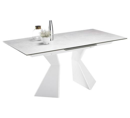 AUSZIEHTISCH rechteckig Weiß, Hellgrau  - Hellgrau/Weiß, Design, Glas/Keramik (160(210)/90/76cm) - Carryhome