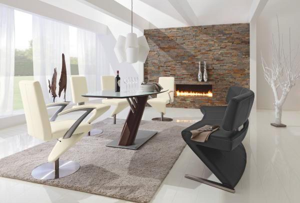 SITZBANK Echtleder Buche Hartholz Schwarz, Silberfarben - Edelstahlfarben/Silberfarben, Design, Leder/Holz (226cm) - MUSTERRING