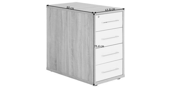 ANSTELLCONTAINER - Silberfarben/Schwarz, KONVENTIONELL, Holzwerkstoff/Kunststoff (43,8/75,6/80cm) - Voleo
