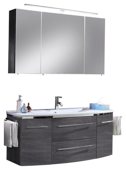 BADEZIMMER Graphitfarben - Graphitfarben/Weiß, Design, Stein (122cm) - Welnova