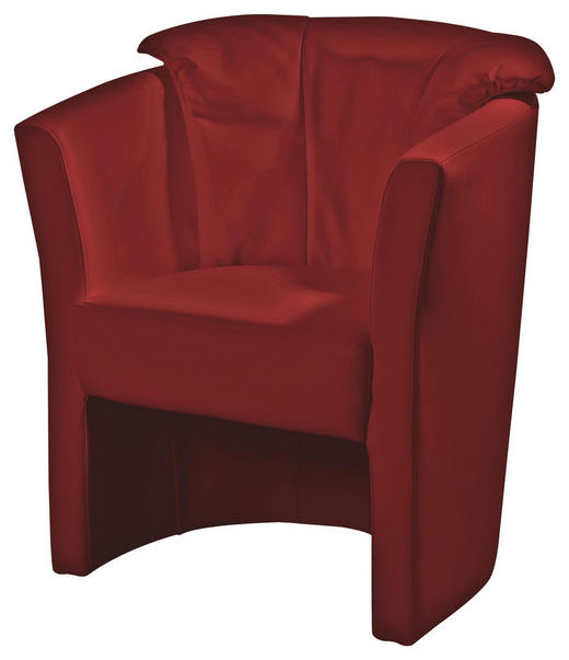 SESSEL Echtleder Rot - Rot, KONVENTIONELL, Leder/Kunststoff (71/82/66cm) - Venda