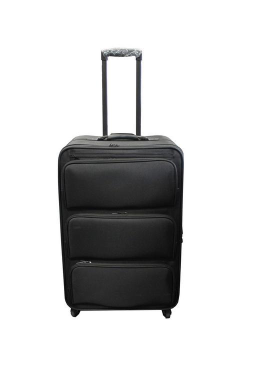 Reisekoffer mit Ordnungssystem - Schwarz, Basics, Kunststoff/Textil (46/71/36cm)