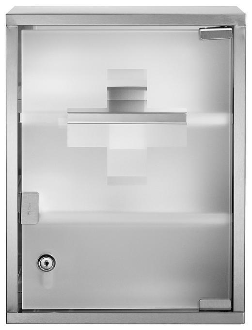 MEDIZINSCHRANK Silberfarben - Silberfarben, Glas/Metall (30/40/12cm)