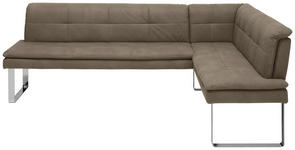 ECKBANK 253/174 cm  in Taupe, Chromfarben  - Taupe/Chromfarben, Design, Textil/Metall (253/174cm) - Novel