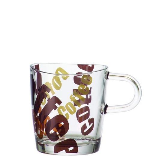 KAFFEEGLAS 300 ml - Klar/Braun, KONVENTIONELL, Glas (11.5/9/8cm) - Leonardo
