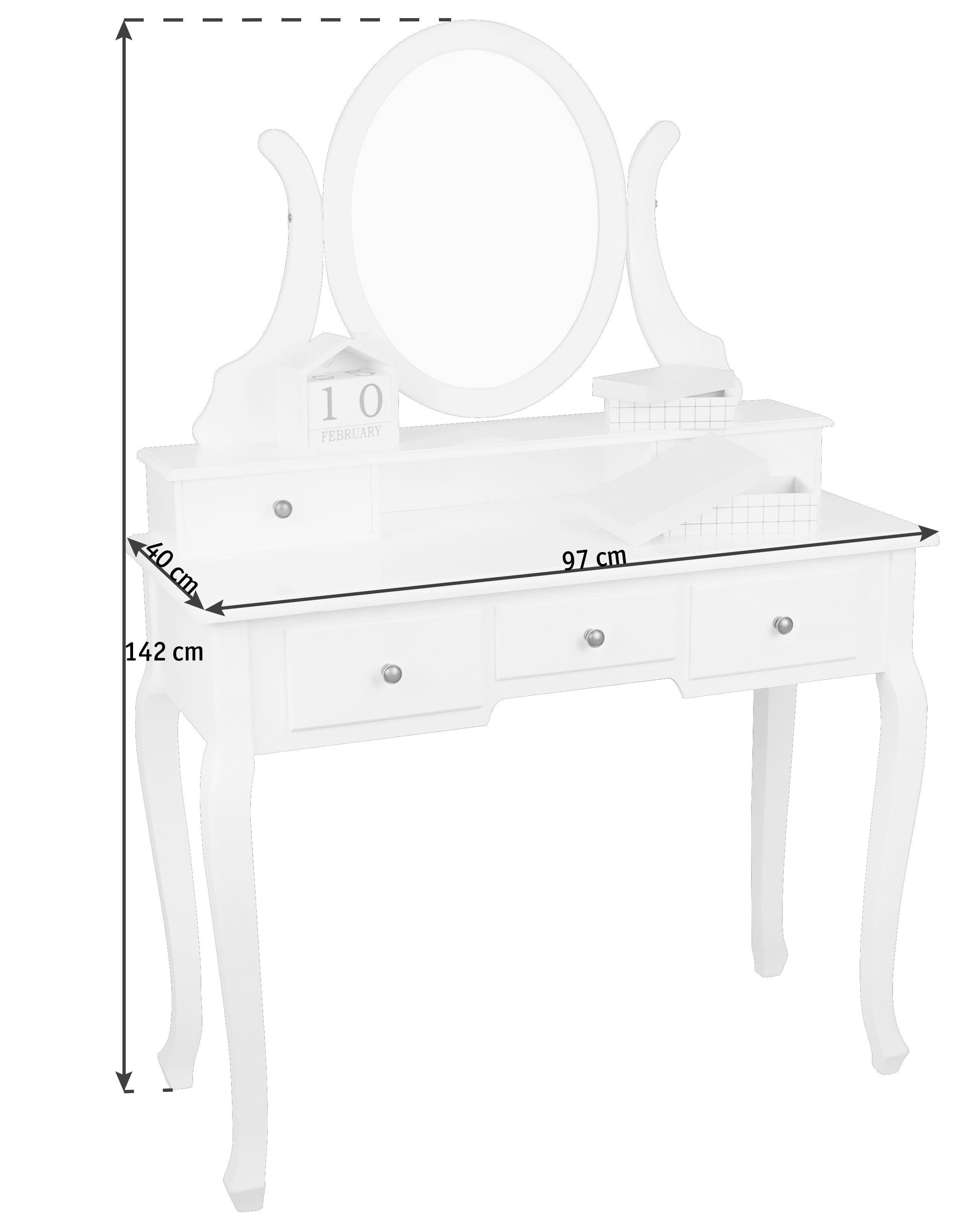 STOL ZA ŠMINKANJE - bijela/crna, Lifestyle, drvni materijal/metal (97/136/40cm)