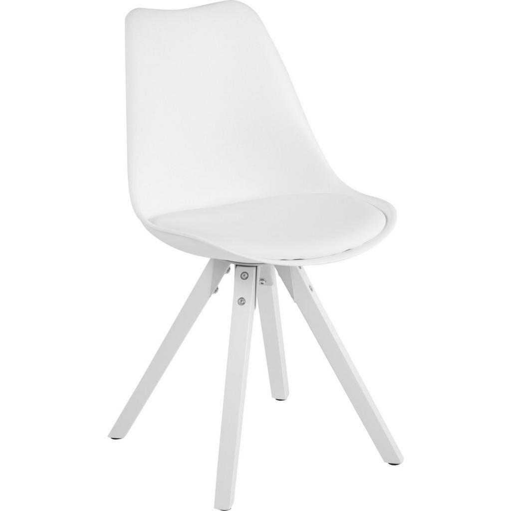 Carryhome Stuhl kautschukholz massiv weiß