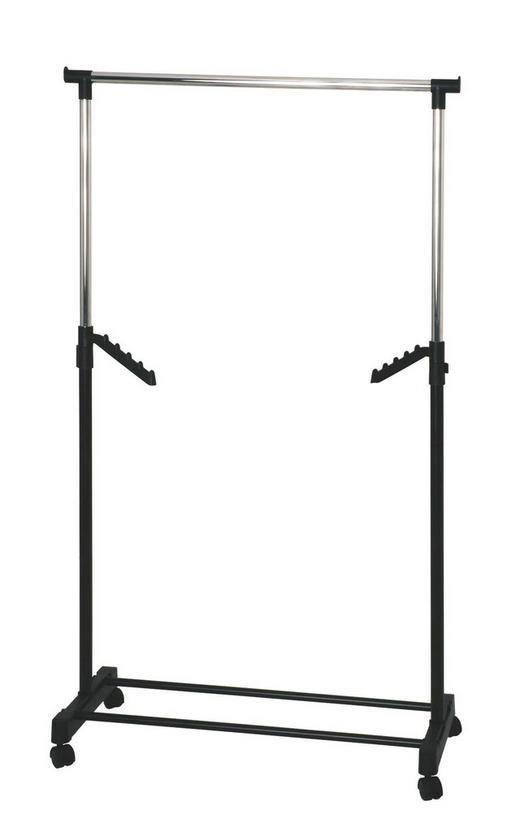 KLEIDERWAGEN Chromfarben, Schwarz - Chromfarben/Schwarz, Basics, Kunststoff/Metall (81/100-177/42cm) - Carryhome