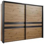 SCHWEBETÜRENSCHRANK in Grau, Eichefarben  - Eichefarben/Grau, Design, Holzwerkstoff/Metall (270/211/61cm) - Hom`in