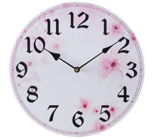 WANDUHR 33 cm - Pink/Weiß, Trend, Holzwerkstoff (33cm) - Ambia Home