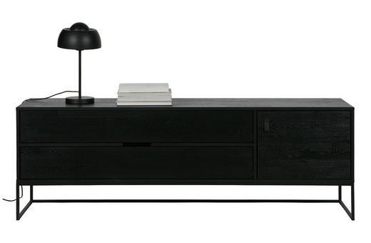 LOWBOARD - Schwarz, Design, Leder/Holz (180/60,5/44cm) - Ambia Home