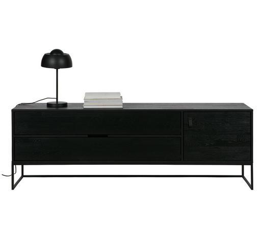 LOWBOARD 180/60,5/44 cm - Schwarz, Design, Leder/Holz (180/60,5/44cm) - Ambia Home