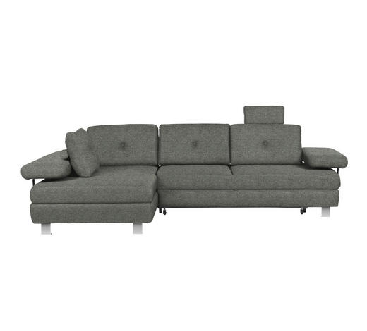 WOHNLANDSCHAFT in Textil Grau - Chromfarben/Grau, Design, Textil/Metall (190/288cm) - Hom`in