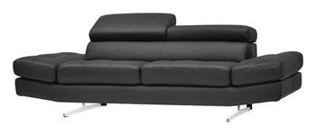 DREISITZER-SOFA Echtleder Anthrazit  - Chromfarben/Anthrazit, Design, Leder (230/93/106cm) - Novel