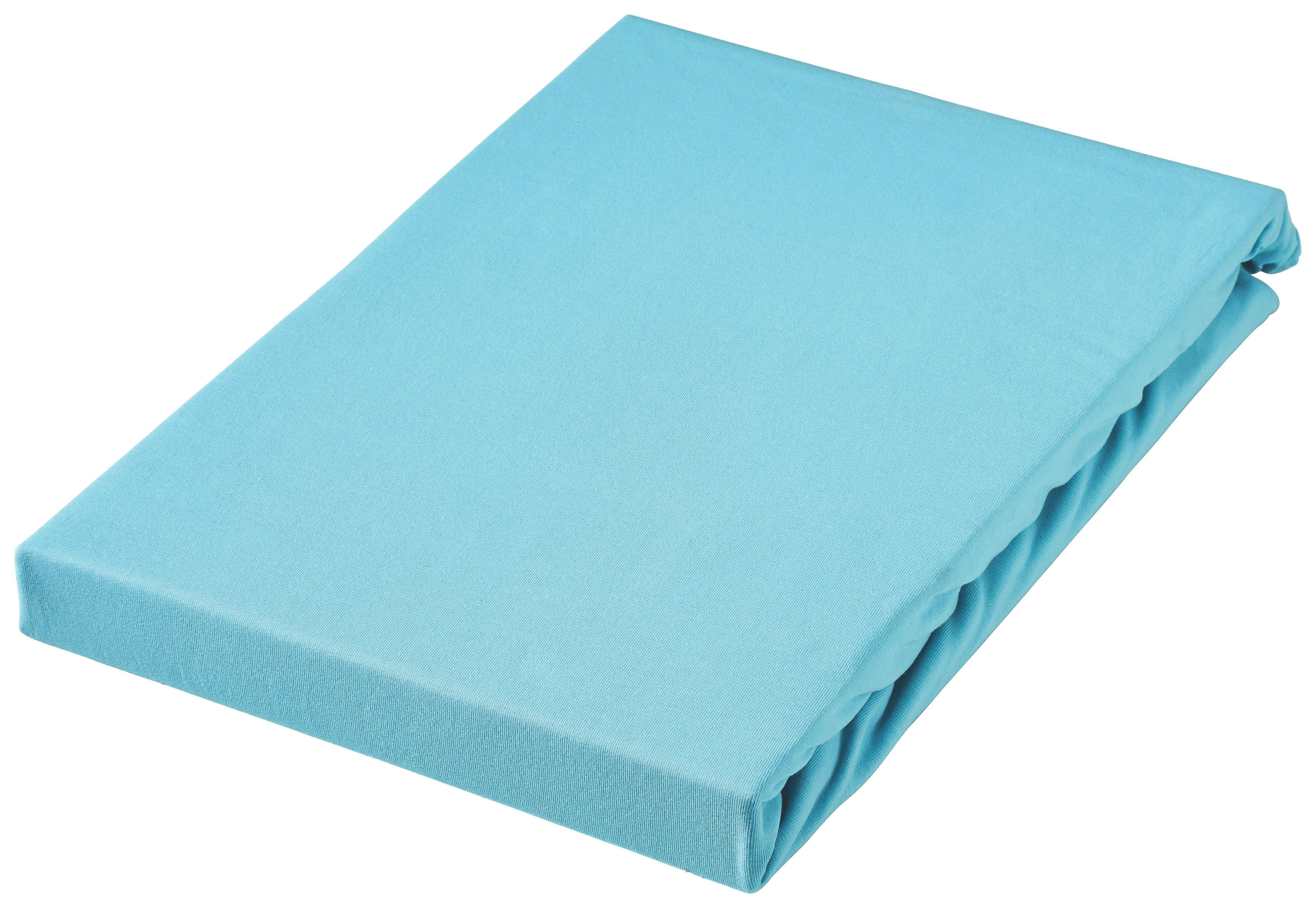 SPANNBETTTUCH Jersey Türkis bügelfrei, für Wasserbetten geeignet - Türkis, Basics, Textil (180/200cm) - BOXXX