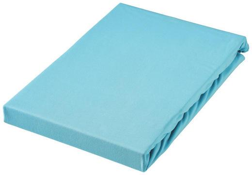 SPANNBETTTUCH Jersey Türkis bügelfrei, für Wasserbetten geeignet - Türkis, Basics, Textil (150/200cm) - BOXXX