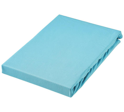 SPANNBETTTUCH Jersey Türkis bügelfrei, für Wasserbetten geeignet  - Türkis, Basics, Textil (100/200cm) - Boxxx