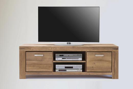 TV-ELEMENT Wildeiche massiv Sonoma Eiche - Edelstahlfarben/Sonoma Eiche, Basics, Holz/Metall (195/51/50cm) - Carryhome