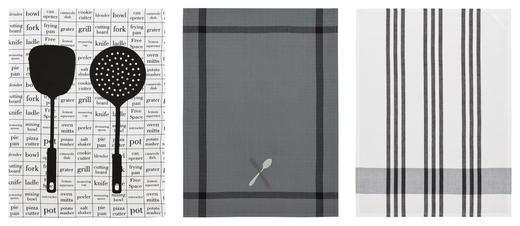 KÖKSHANDDUK SET - vit/grå, Design, textil (50/70cm) - ESPOSA