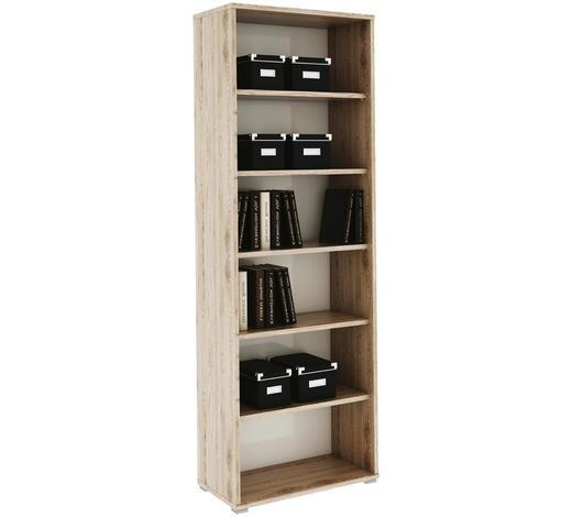REGÁL NA SPISY, bílá, barvy dubu - bílá/barvy dubu, Design, kompozitní dřevo (75/217,8/38cm) - Xora