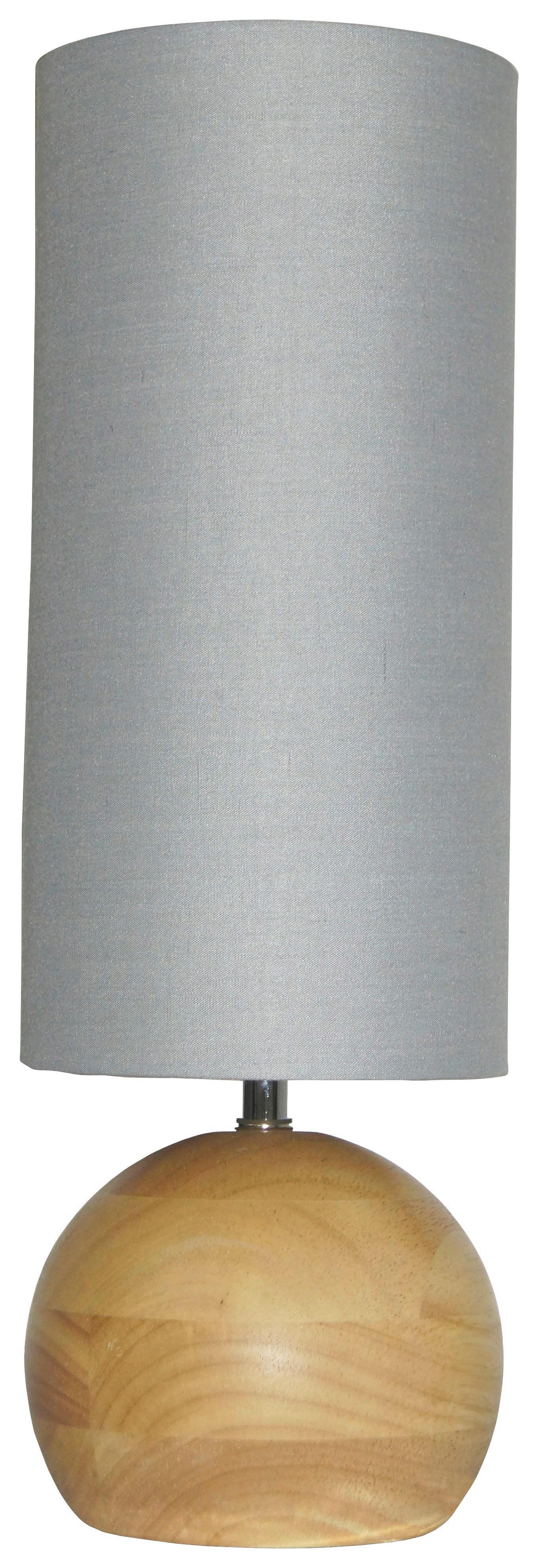 TISCHLEUCHTE - Grau/Kieferfarben, LIFESTYLE, Holz/Textil (12/37/12cm)
