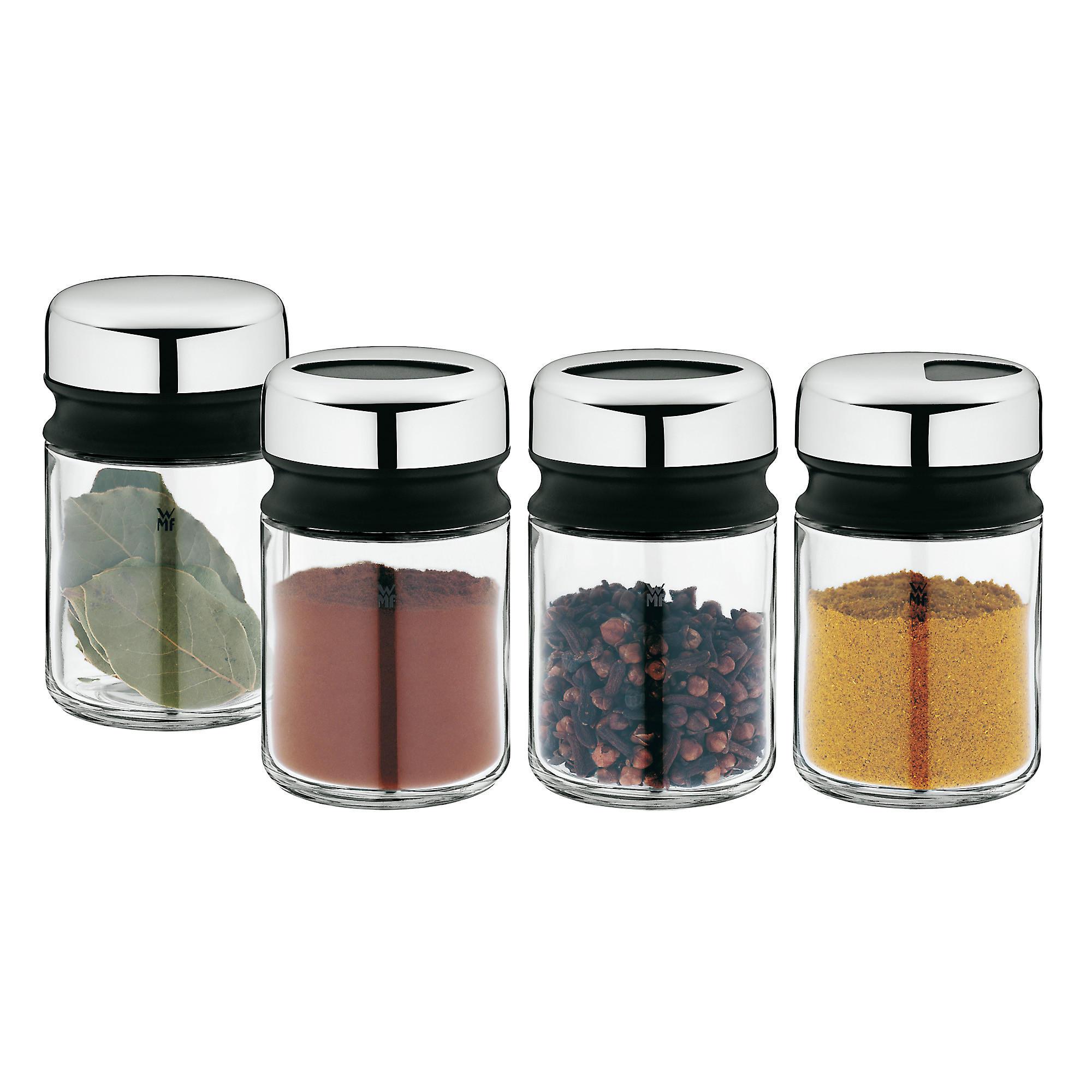 Gewürzdose 4-teilig - Klar/Edelstahlfarben, Basics, Glas/Keramik (5,5/9,5cm) - WMF