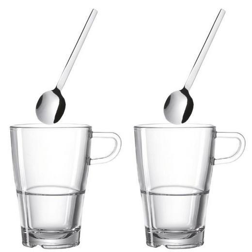 GLÄSERSET 4-teilig - Edelstahlfarben/Transparent, Basics, Glas/Metall (18,70/15,20/8,50cm) - Leonardo