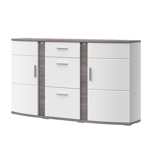 SIDEBOARD Melamin Eichefarben, Weiß - Eichefarben/Alufarben, Design, Glas/Kunststoff (163,7/94/40,4cm) - Xora