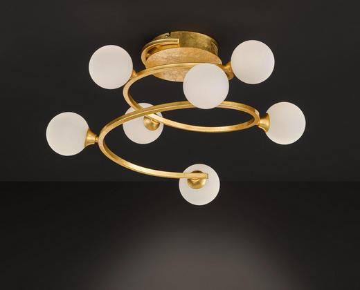 LED-DECKENLEUCHTE - Goldfarben/Weiß, Design, Glas/Metall (60/27cm)