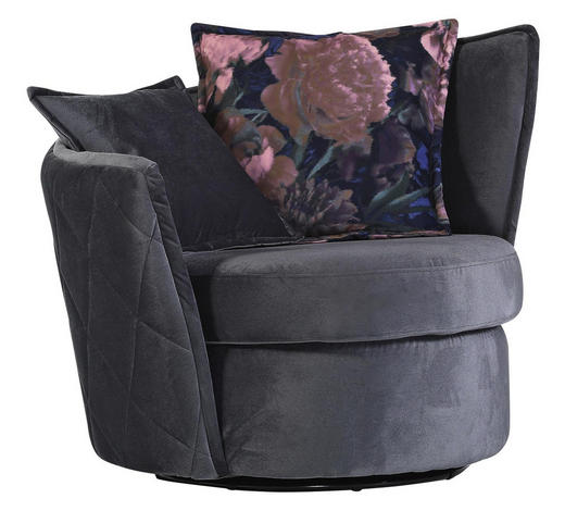 SESSEL in Textil Dunkelgrau - Dunkelgrau/Rosa, Design, Textil (110/88/48/95cm) - Carryhome