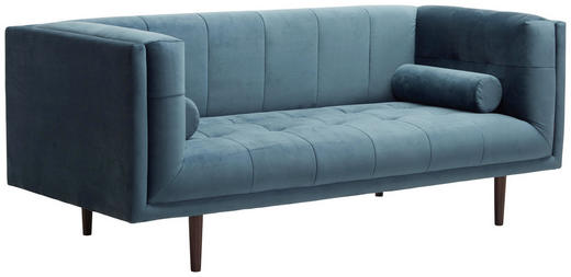 SOFA in Textil Blau - Blau/Dunkelbraun, Design, Holz/Textil (200/80/87cm) - Carryhome
