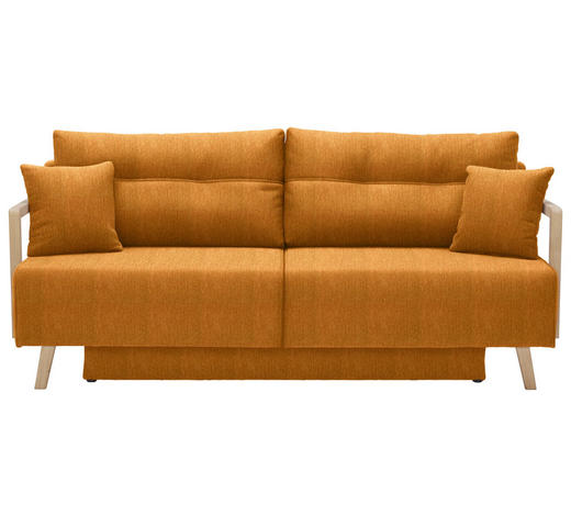 SCHLAFSOFA in Textil Currygelb - Currygelb/Naturfarben, KONVENTIONELL, Holz/Textil (200/92/95cm) - Venda