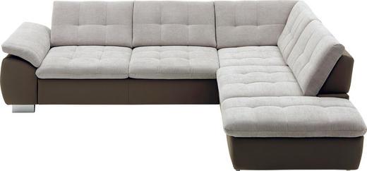 WOHNLANDSCHAFT Beige, Creme, Hellbraun Mikrofaser, Webstoff - Hellbraun/Chromfarben, Design, Textil/Metall (299/237cm) - Beldomo Style