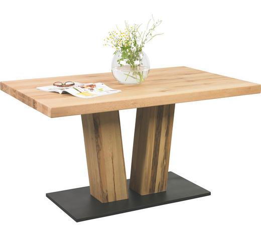 ESSTISCH Eiche massiv rechteckig Schwarz, Eichefarben  - Eichefarben/Schwarz, Design, Holz/Metall (140/90/78cm) - Valdera