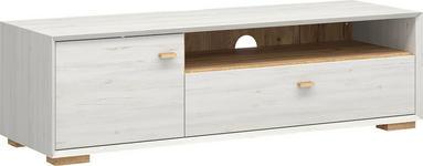 LOWBOARD melaminharzbeschichtet Weiß - Eichefarben/Weiß, Design, Holz (141/41/45cm) - Linea Natura