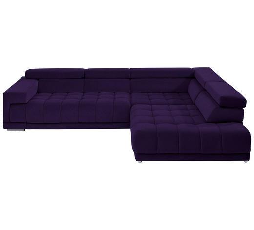 WOHNLANDSCHAFT in Textil Violett  - Chromfarben/Violett, Design, Textil/Metall (323/222cm) - Beldomo Style