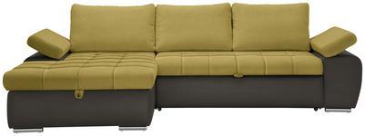 WOHNLANDSCHAFT in Textil Gelb, Grau, Grün - Gelb/Grau, Design, Kunststoff/Textil (175/271cm) - Xora