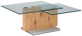 COUCHTISCH in Glas, Holz 110-160/65/41 cm - Eichefarben, Design, Glas/Holz (110-160/65/41cm) - Novel
