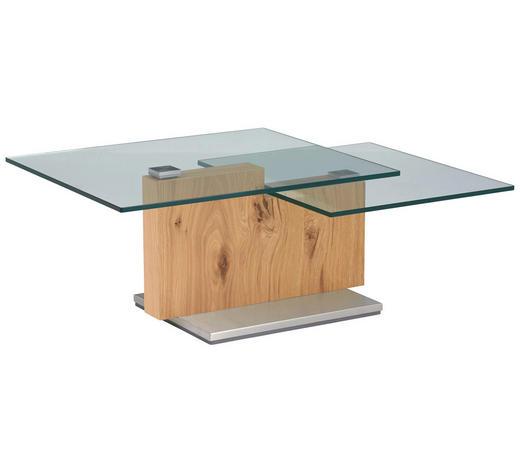 COUCHTISCH in Holz, Glas 110-160/65/41 cm - Eichefarben, Design, Glas/Holz (110-160/65/41cm) - Novel