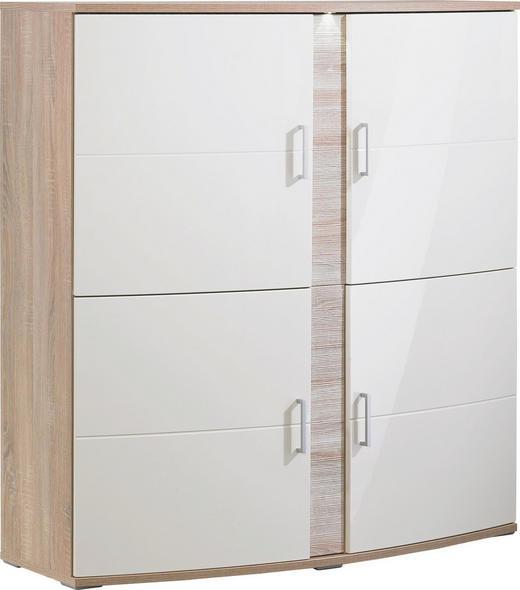 HIGHBOARD geschroppt, sägerau Creme, Eichefarben - Eichefarben/Silberfarben, Design, Glas/Holz (139/147/51cm) - Xora