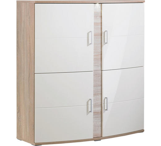 HIGHBOARD 139/147/51 cm  - Eichefarben/Silberfarben, Design, Glas/Holz (139/147/51cm) - Xora